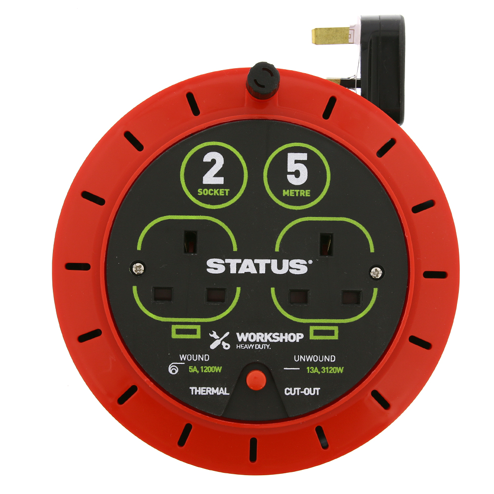 Picture of Status 5m 2 Socket Heavy Duty Cable Reel