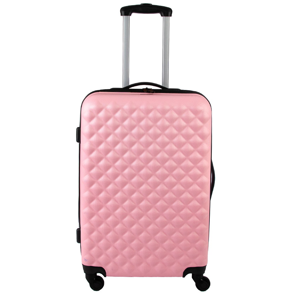 Picture of Salisbury Embossed Quilted Shell Suitcase: Pink