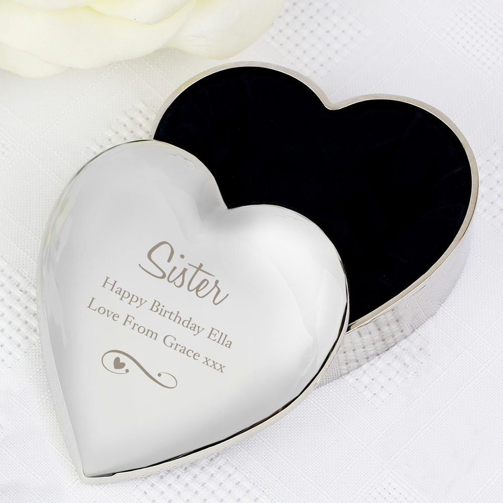 Picture of Personalised Message Swirls & Hearts Heart Trinket Box