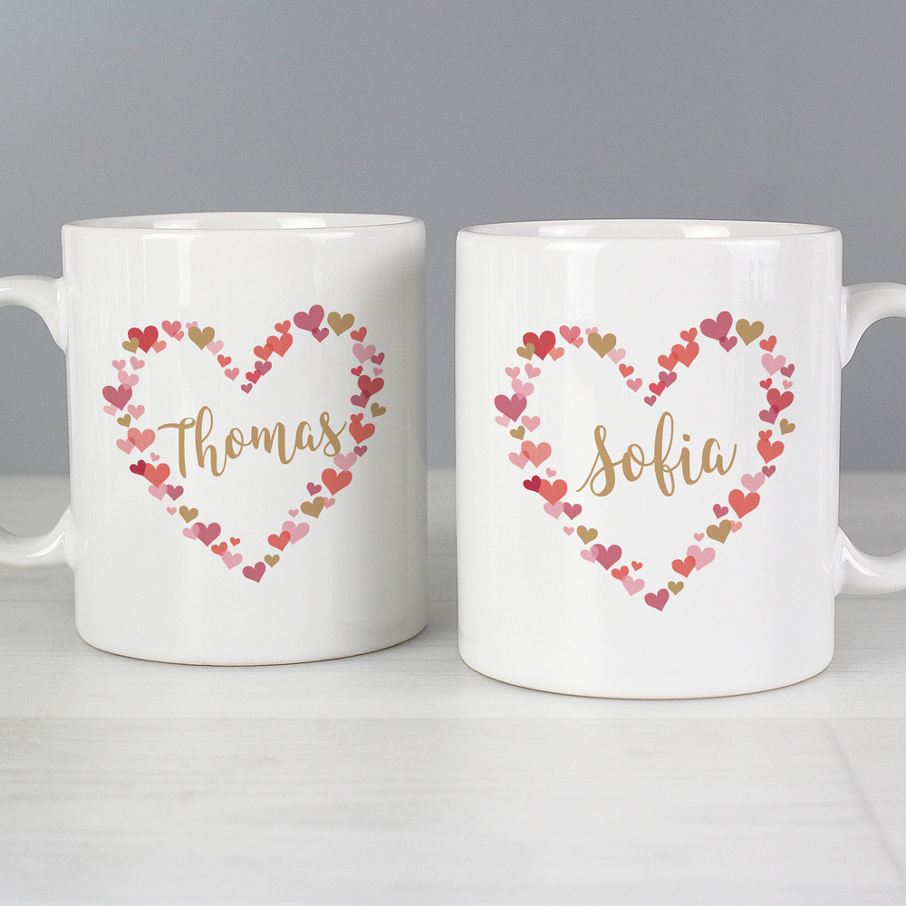 Picture of Personalised Confetti Hearts Wedding Mug Set