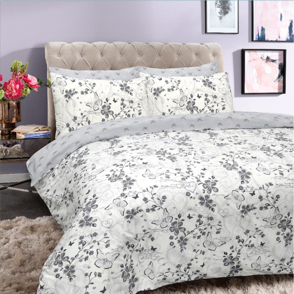 Picture of Home Collections: Butterflies Printed Duvet Set (Grey/Lilac)