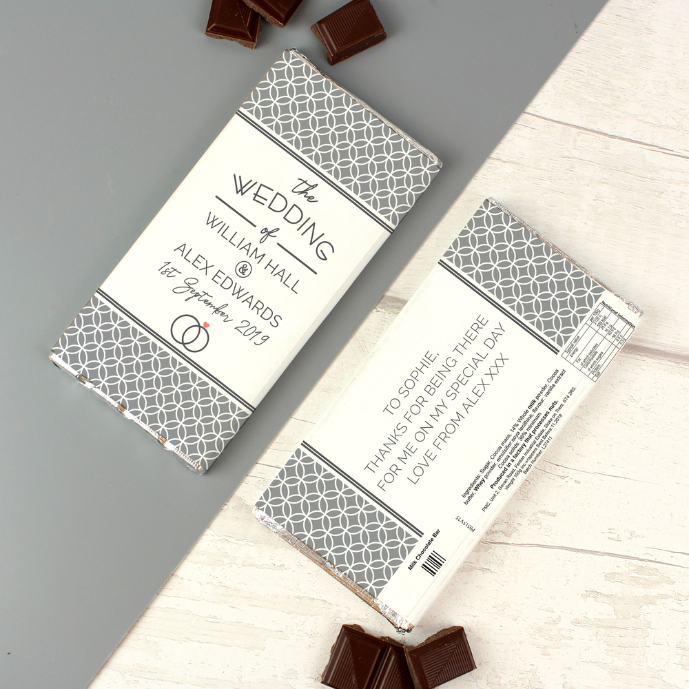 Picture of Personalised Wedding Milk Chocolate Bar