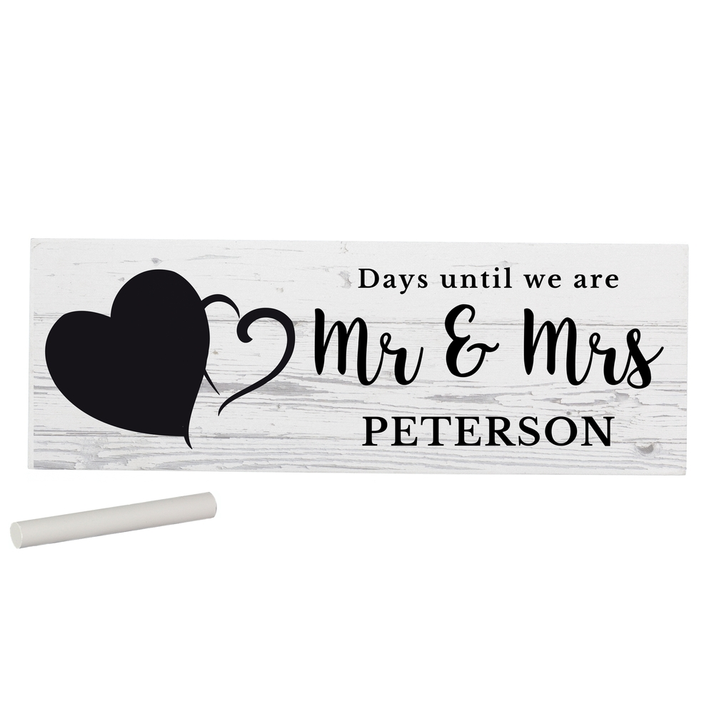 Picture of Personalised Rustic Chalk Countdown Wooden Block Sign