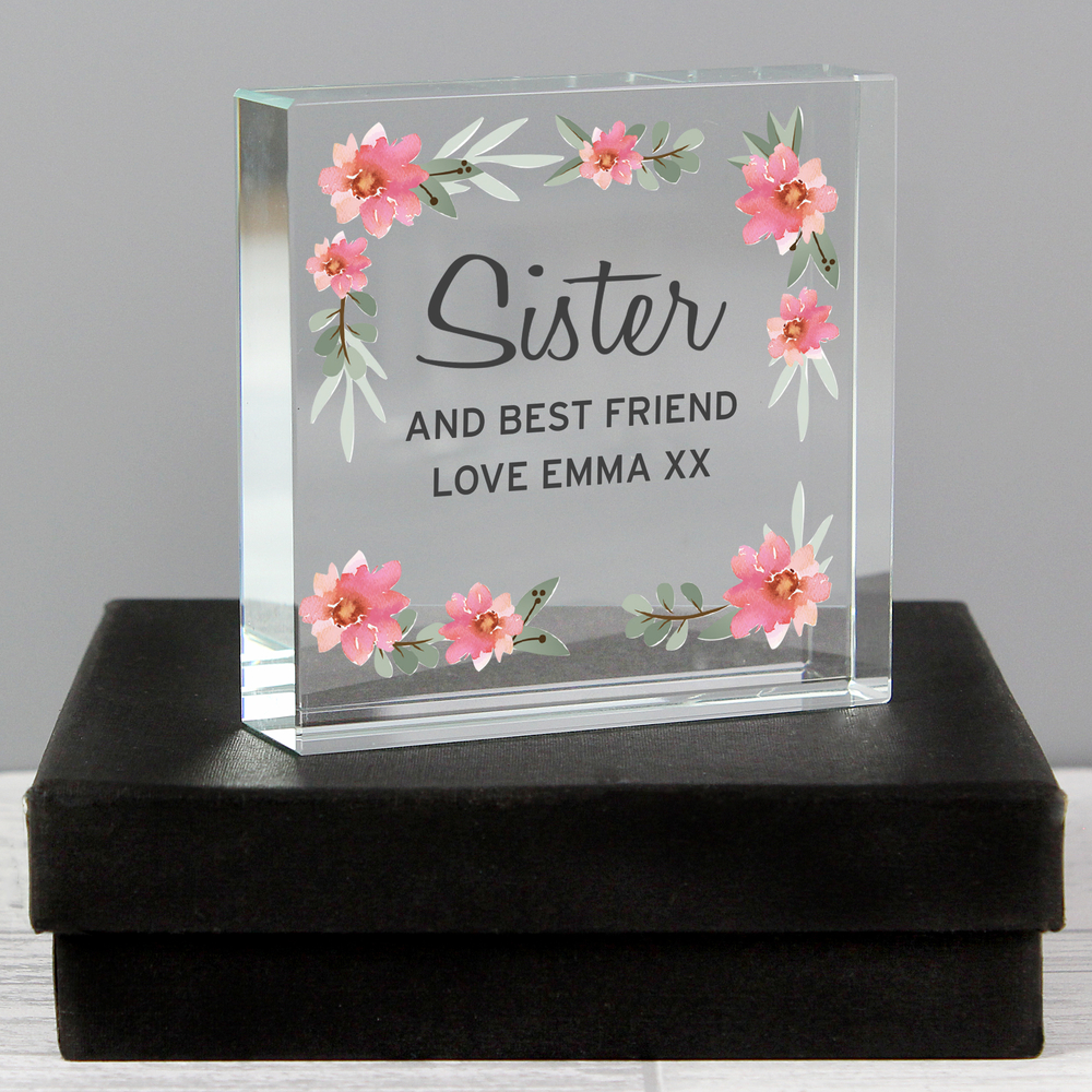 Picture of Personalised Floral Sentimental Large Crystal Token