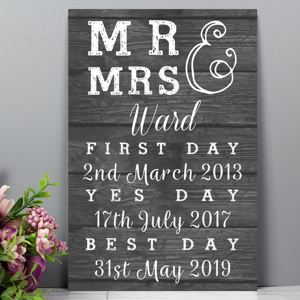 Picture of Personalised Mr & Mrs, First Day, Yes Day & Best Day Metal Sign