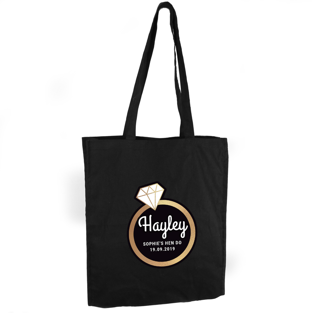 Picture of Personalised Gold Bling Ring Hen Party Black Cotton Bag