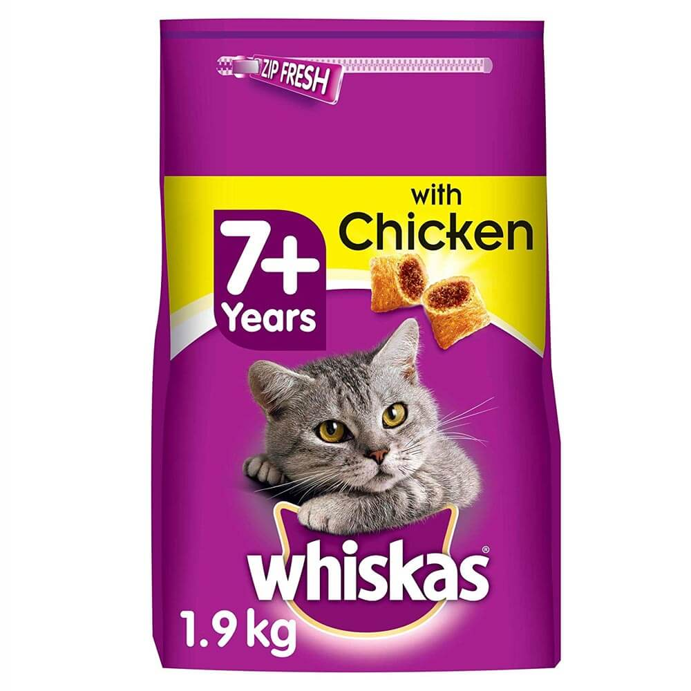 Picture of Whiskas Senior Cat Food with Chicken Filled Pockets (4 x 1.9kg Bags)