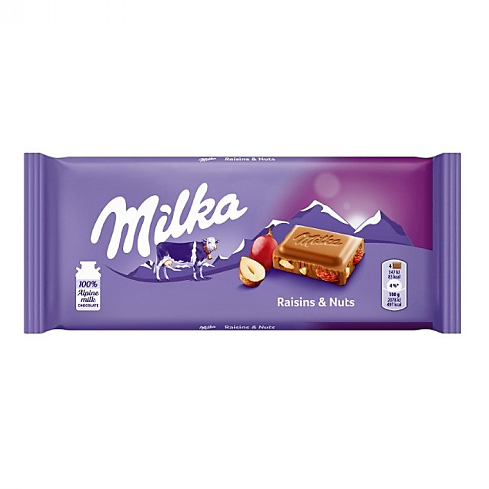 Picture of Milka 100g Chocolate Bar: Raisin and Nut (Case of 22)