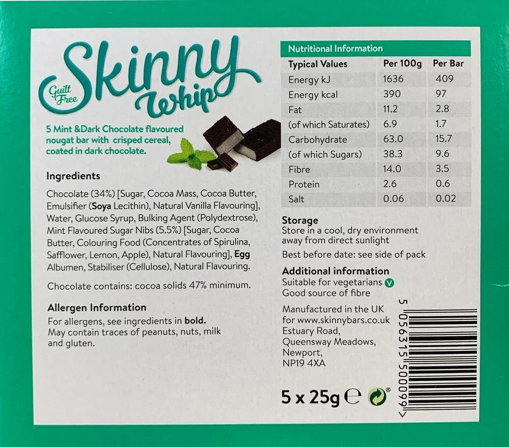 Picture of Skinny Whip Mint & Dark Chocolate Bar (20 x 5 Bars)