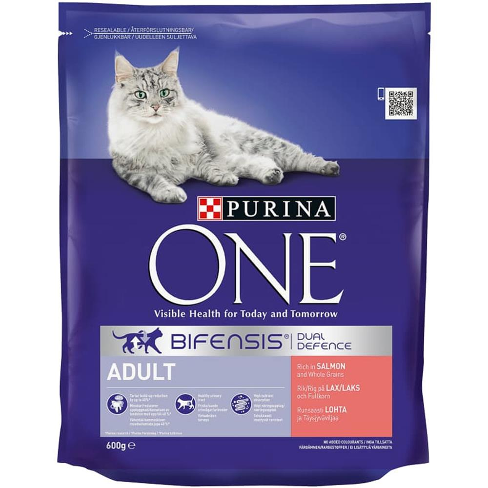 Picture of Purina One Bifensis Dual Defence Adult Food: Rich with Salmon (8 x 600g Bags)