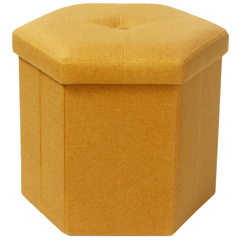 Picture of Foldable Hexagonal Poly Linen Ottoman