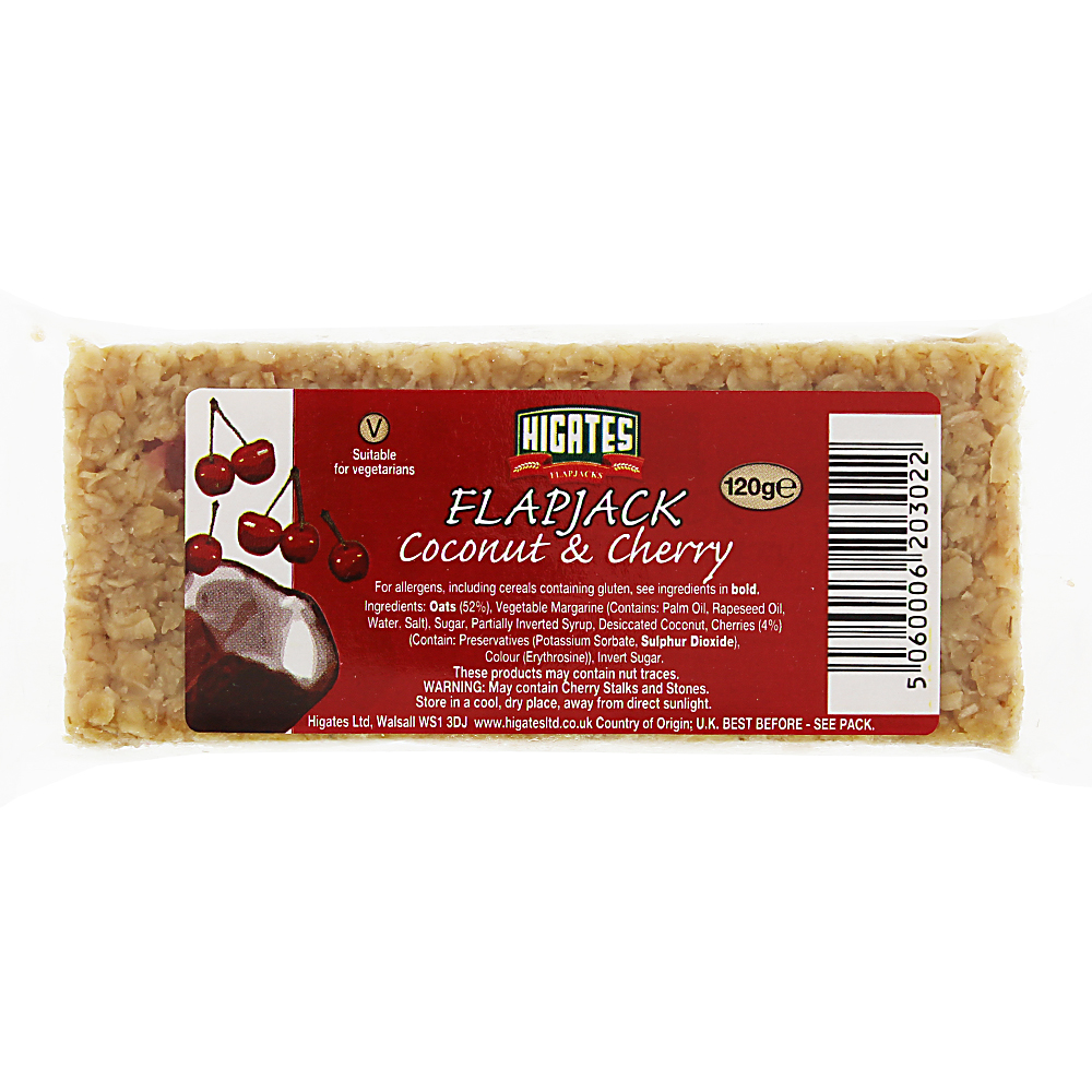Picture of Higates Flapjacks: Coconut & Cherry (Case of 30)