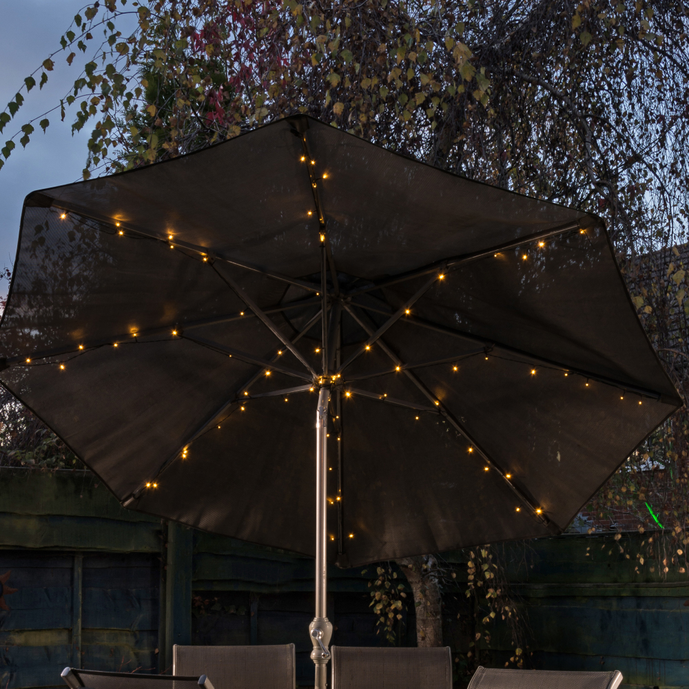 Picture of Firefly 72 LED Parasol Solar Lights: Bright White