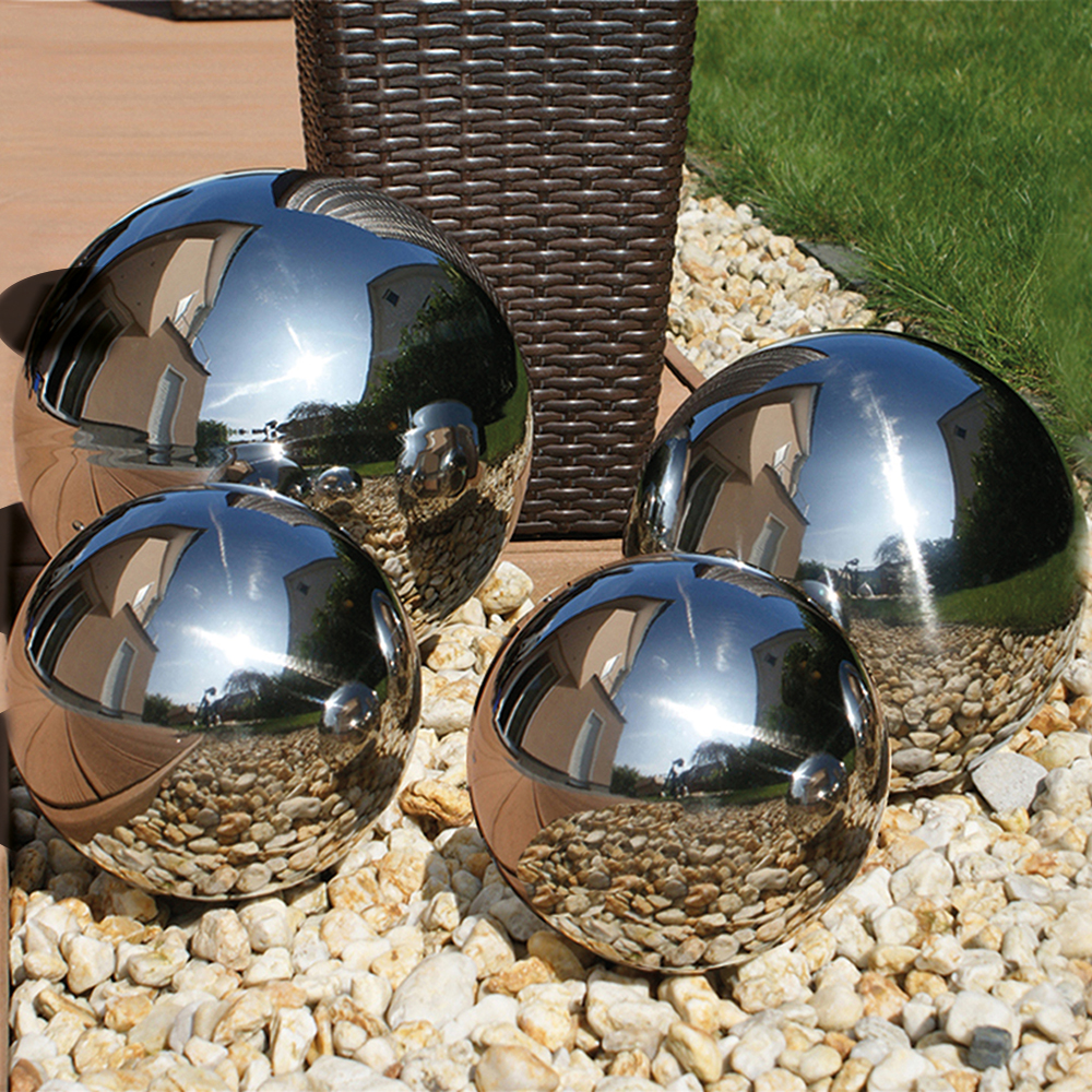 Buy Stainless Steel Gazing Globes Set Of 4 At Home Bargains
