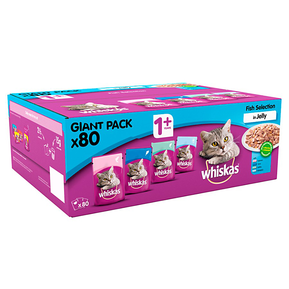 Picture of Whiskas 1+ Fish in Jelly Pouches Giant Pack (80 Pouches)