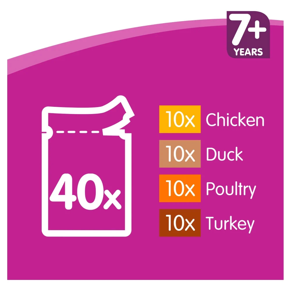 Picture of Whiskas 7+ Pure Delight Poultry in Jelly Mega Pack (40 Pouches)