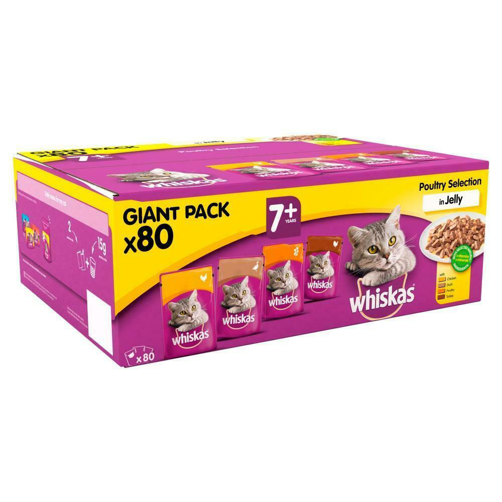 Picture of Whiskas 7+ Poultry in Jelly Giant Pack (80 Pouches)