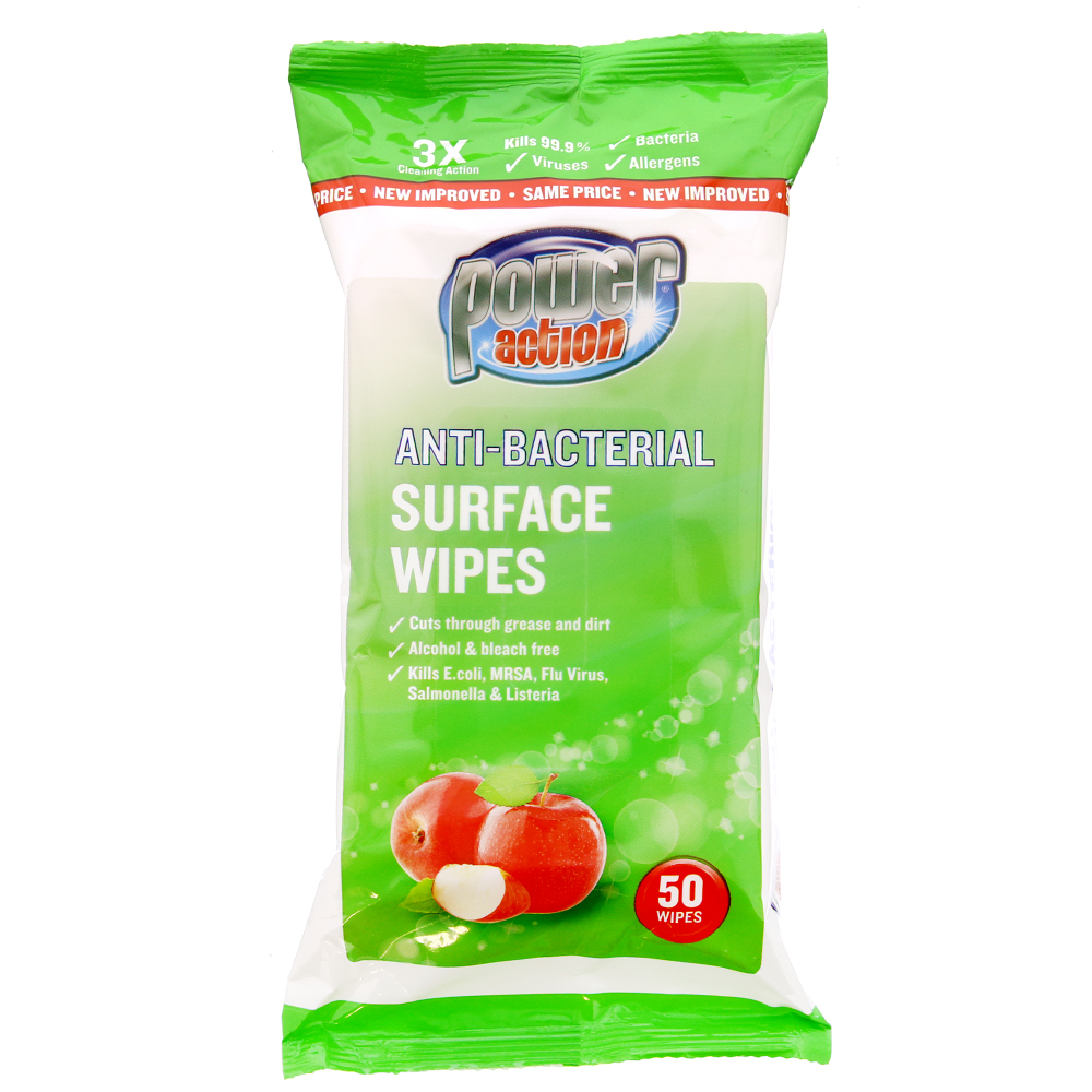 Picture of Power Action Anti-Bacterial Surface Wipes: Apple (36 x 50 Wipes)