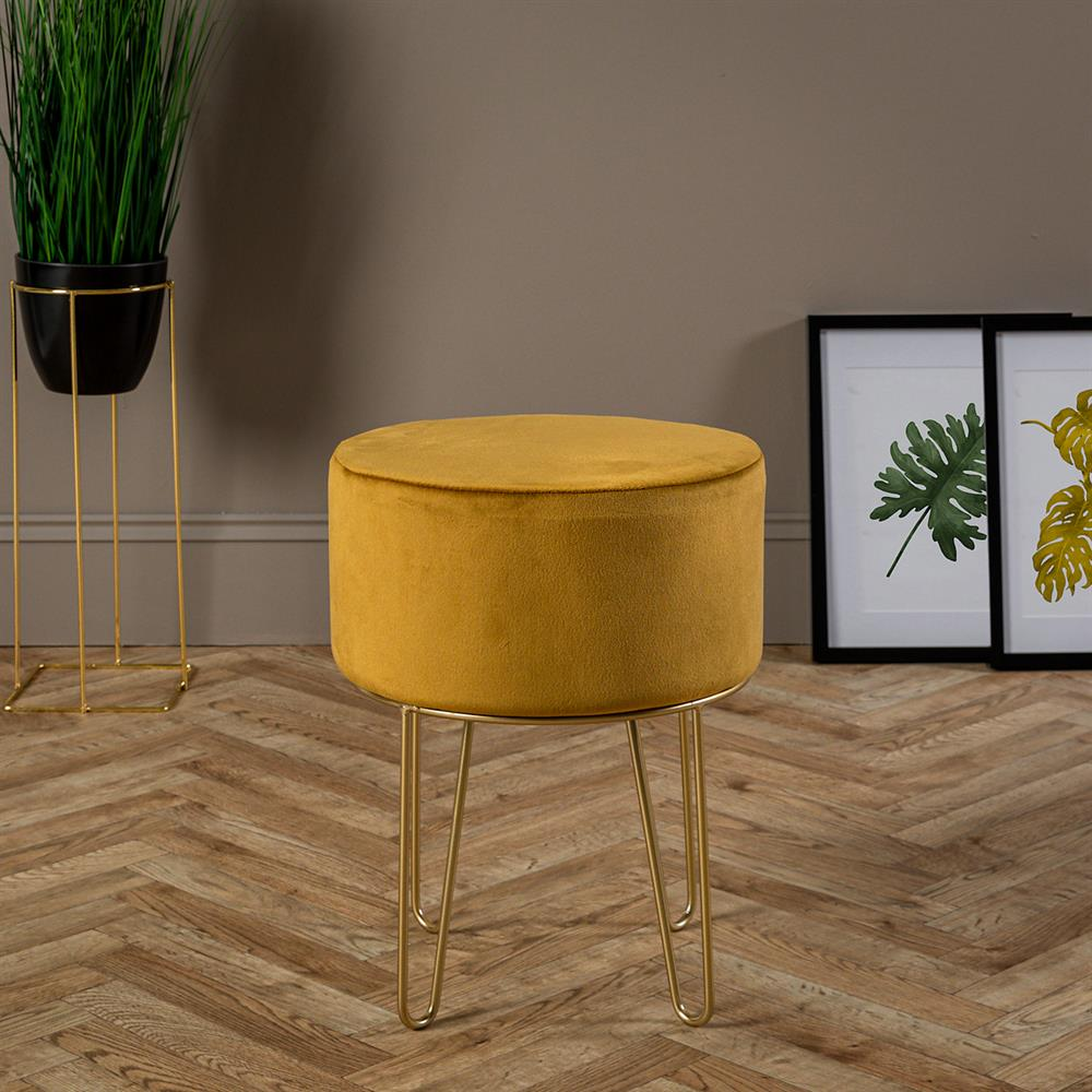 Picture of Ports of Call Jeff Banks: Velvet Footstool (Mustard)