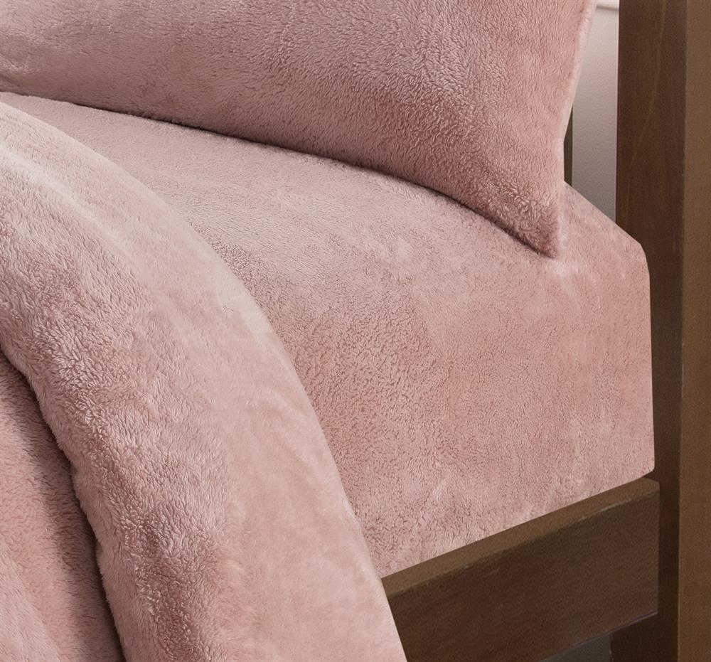 Picture of Fleece Teddy Fitted Sheet: Blush Pink