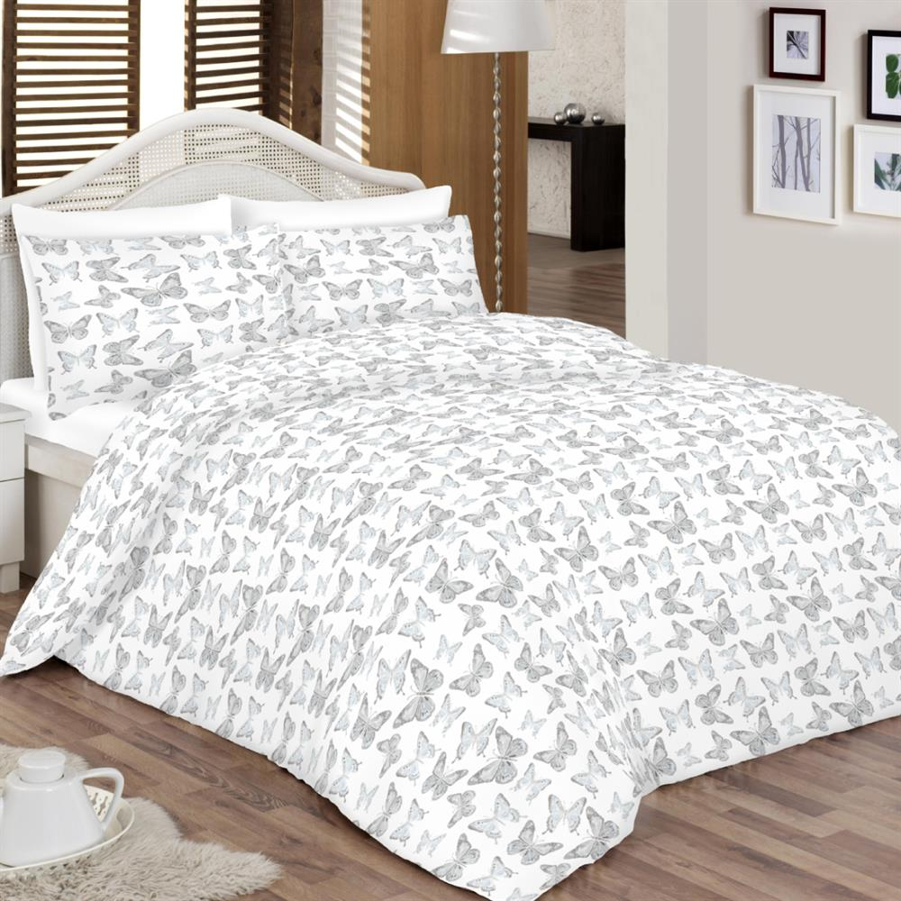 Picture of Home Collections Grey Butterfly Duvet Set