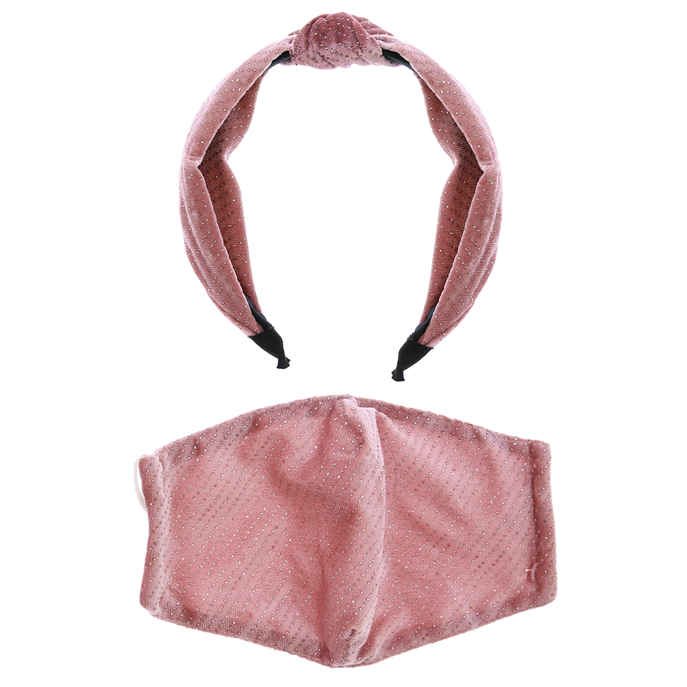 Picture of Pink Glitter Headband & Adult Face Covering