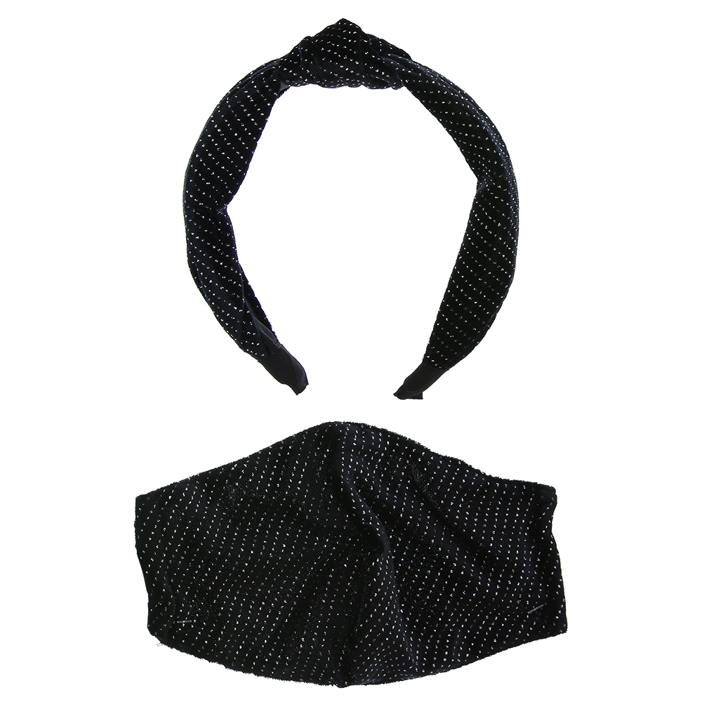 Picture of Black Glitter Headband & Adult Face Covering