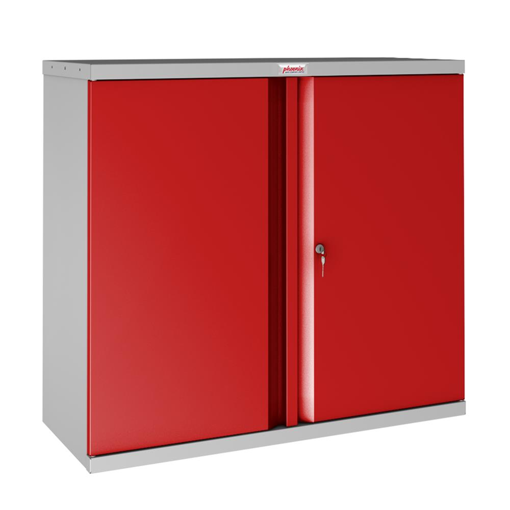 Picture of Phoenix SCL Series 2 Door 1 Shelf Steel Storage Cupboard Grey Body & Red Doors with Key Lock Inc.ND Delivery