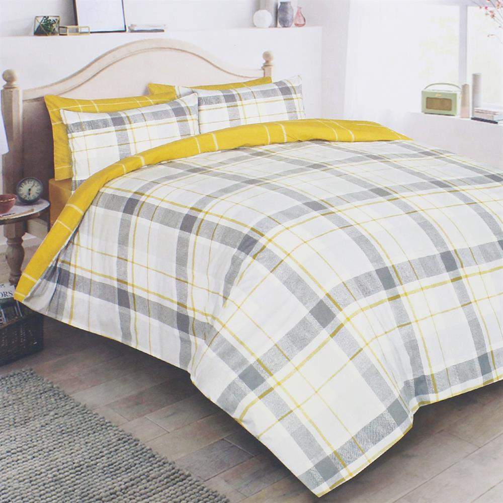 Picture of Grey & Yellow Check Duvet Set