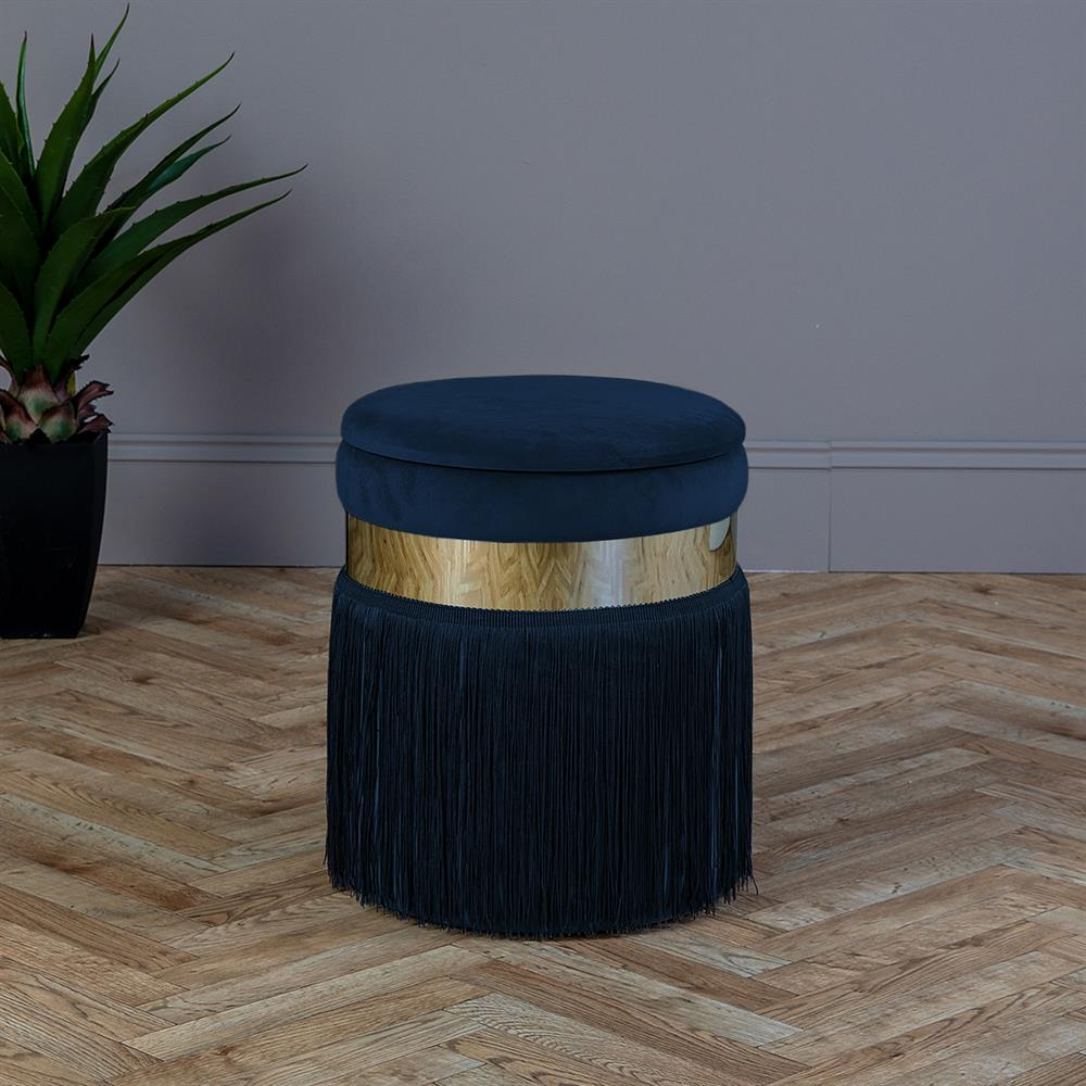 Picture of Ports of Call Jeff Banks: -Navy Blue Velvet Footstool with Fringe