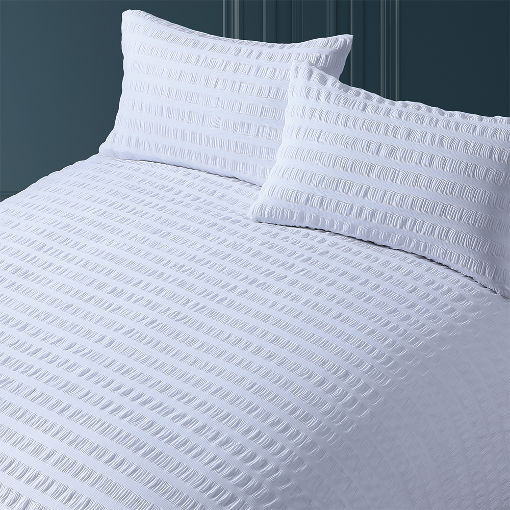 Picture of Home Collections Seersucker Duvet Set White: Single