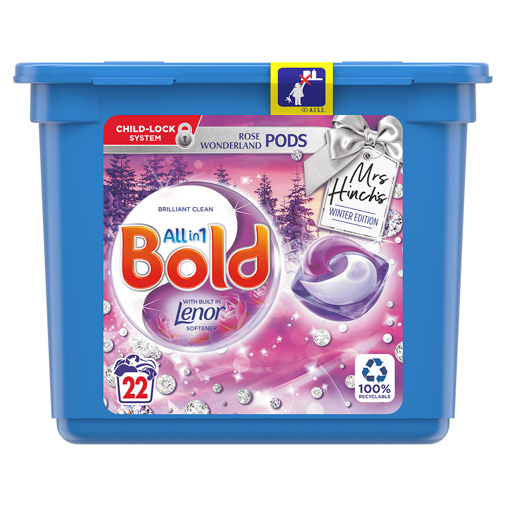 Picture of Mrs Hinch's Bold All in 1 Rose Wonderland Pods with Built in Lenor Winter Edition 22 Washes: Exclusive to Home Bargains
