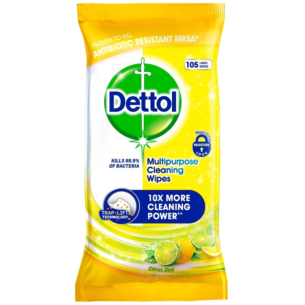 Picture of Dettol Multipurpose Cleaning Wipes Citrus Zest (3 x 105 Wipes)