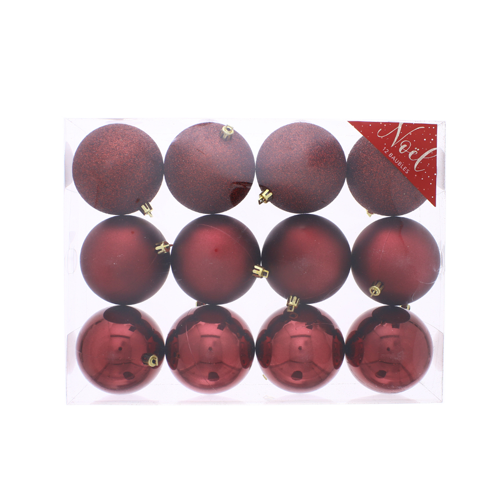 Picture of Noel Christmas Baubles Red (12 x 8cm Baubles)