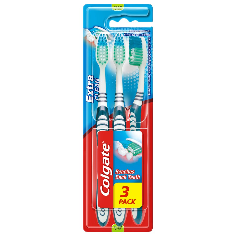 Picture of Colgate Extra Clean Toothbrush 3 Pack (Case of 12)