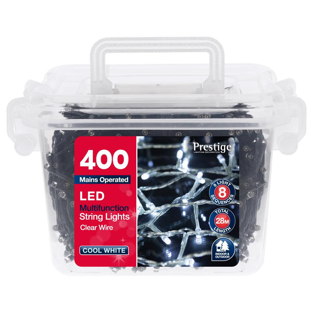 Picture of Prestige Lighting: 400 LED Multifunction String Lights with Clear Wire