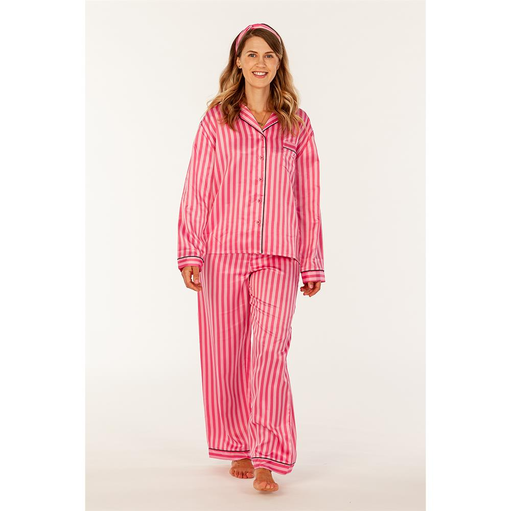 Picture of Lips: 3 Piece Pink Striped Pyjama Set with Headband - Long Sleeve