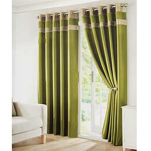 Picture Of Olive Green Faux Silk Curtains 168 X 182 Cm