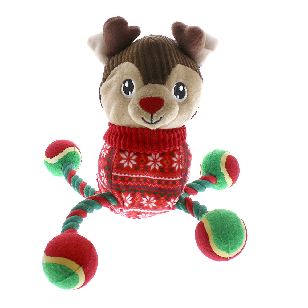 Picture of Festive Paws Reindeer Tennis Ball Toy