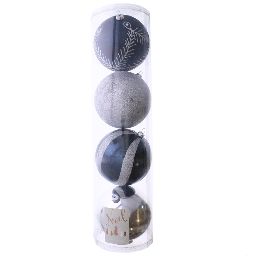 Picture of Noel Christmas Bauble Navy (4 x 12cm Bauble)