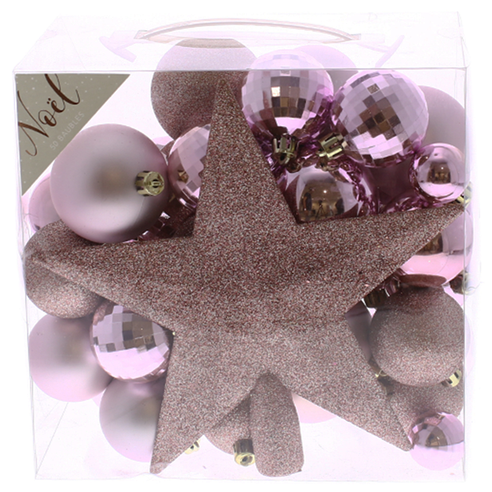 Picture of Noel 50 Piece Pink Bauble Set with Star Topper