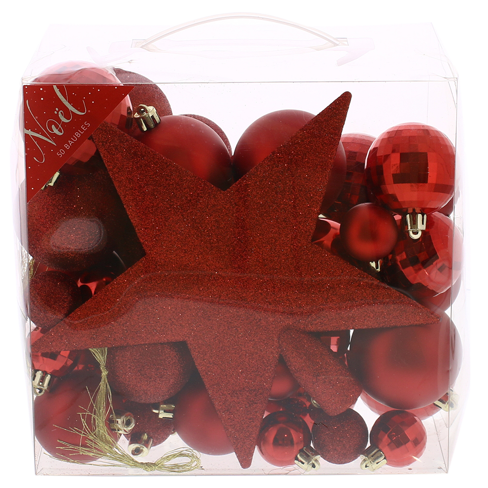 Picture of Noel 50 Piece Red Bauble Set with Star Topper