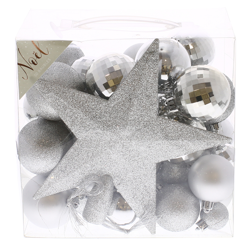 Picture of Noel 50 Piece Silver Bauble Set with Star Topper