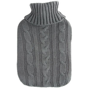 Buy Hot Water Bottle With Grey Knitted Cover 2 Litre At Home Bargains