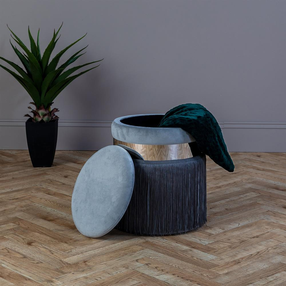 Picture of Ports of Call Jeff Banks: Grey Velvet Footstool with Fringe