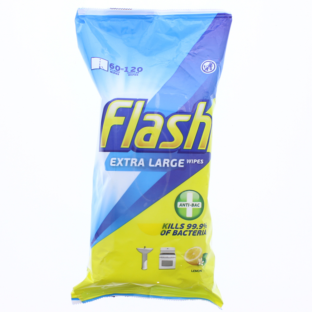 Picture of Flash Extra Large Anti-Bac Wipes 120 - Lemon (Case of 4)