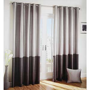 Buy Silver And Charcoal Faux Silk Curtains 228 X 228 Cm At