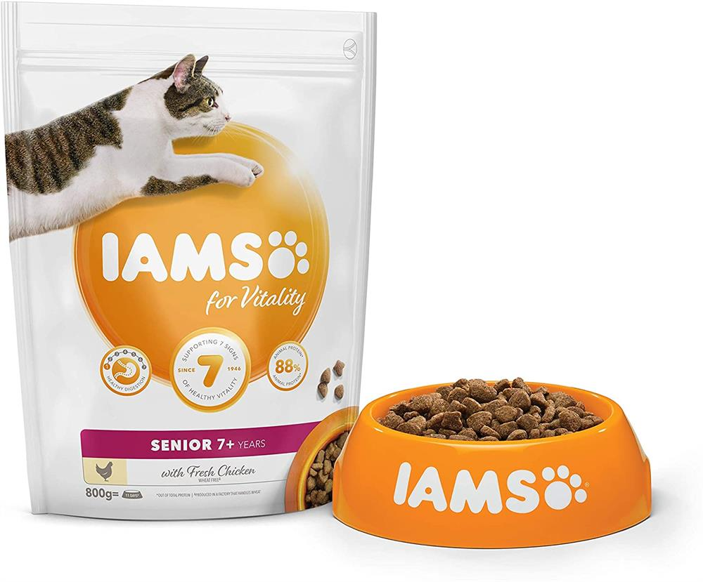 Picture of Iams: Senior Dry Cat Food with Fresh Chicken 800g
