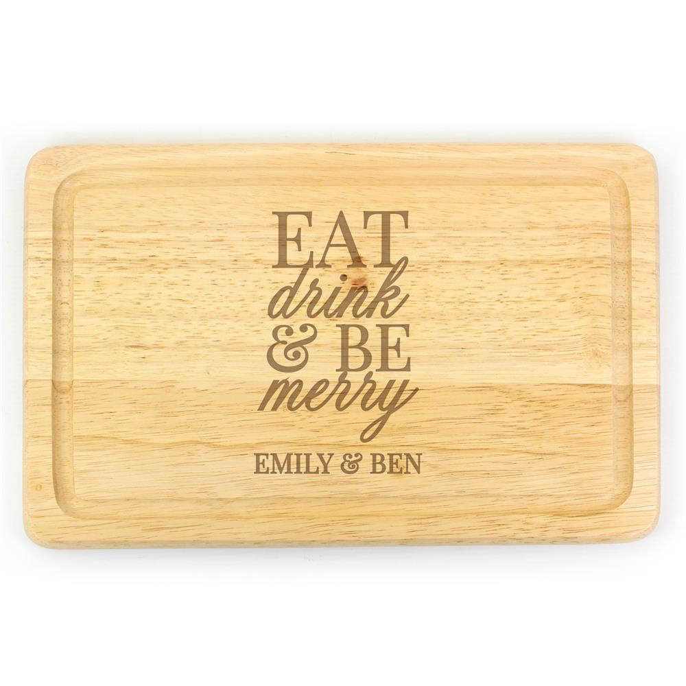 Picture of Personalised Eat Drink & Be Merry Rectangular Wooden Board