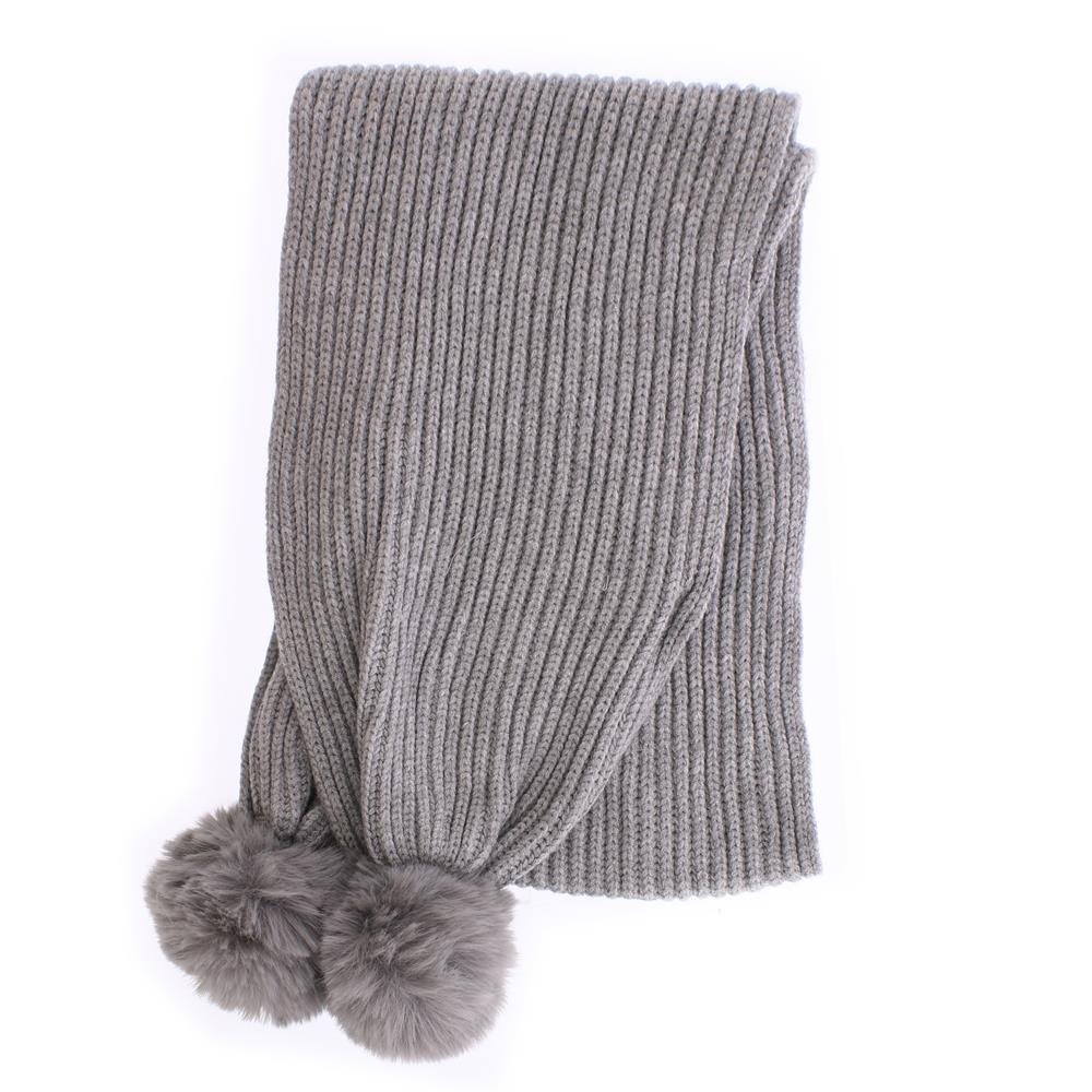 Picture of Winter Collections Kid's Pompom Scarf - Grey